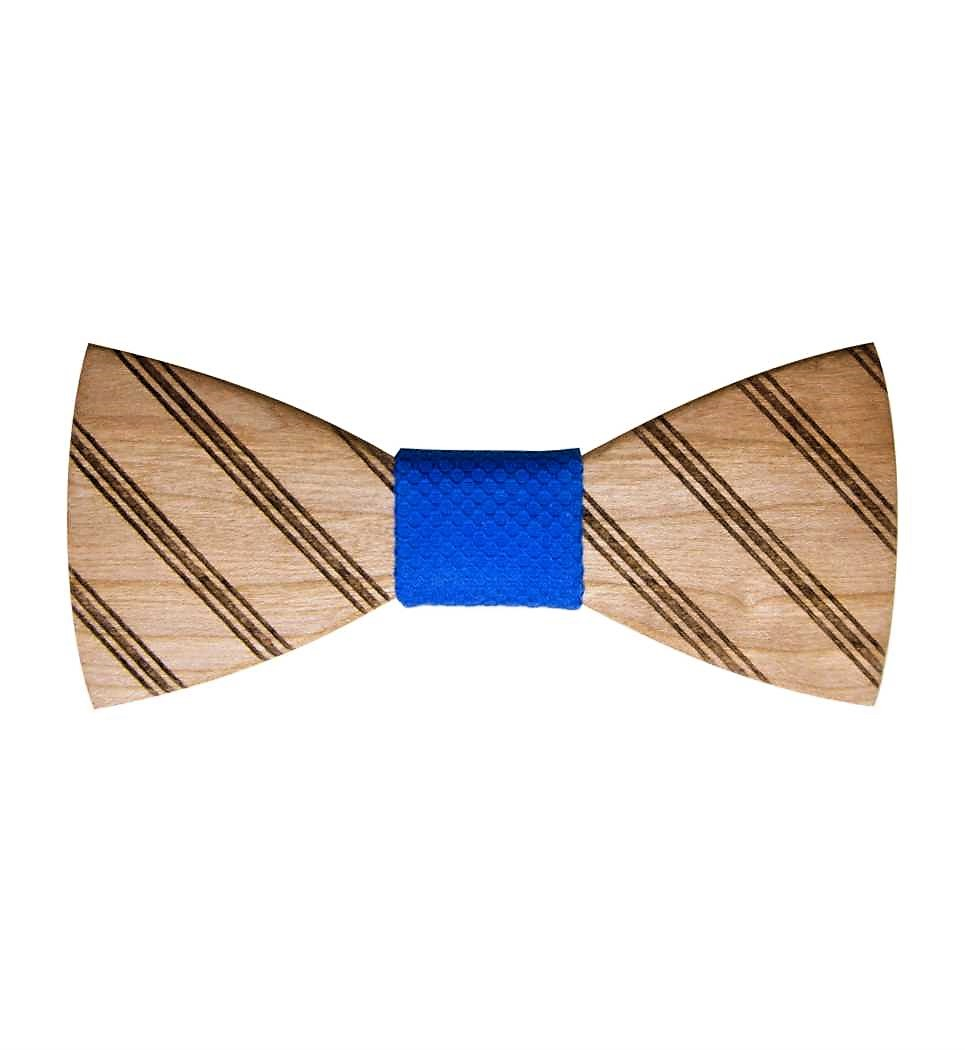 Stripes Cherry Wooden Bow Tie