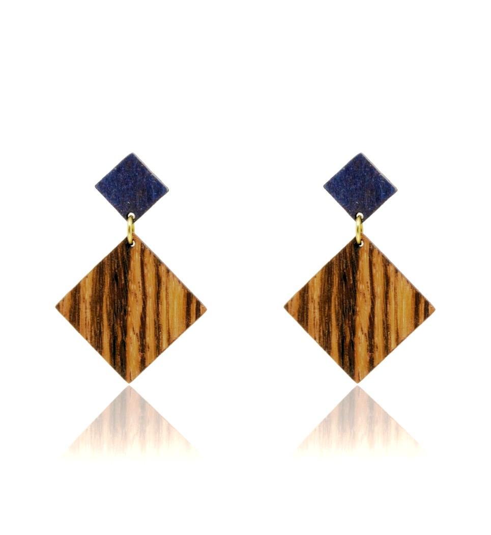 Σκουλαρίκια D Rho in Zebrano and Blue Tulip