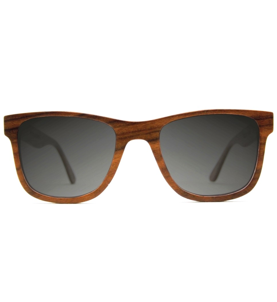 WOODEN SUNGLASSES ROSEWOOD POLARISED GREY LENSES